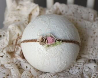 ready to ship newborn photography prop baby photo prop- dainty flower tieback headband with fabric, caramel brown colored headband