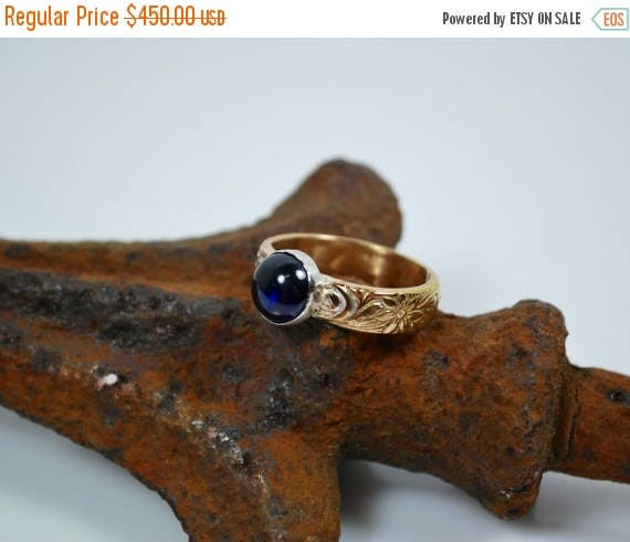 ON SALE Solitaire Sapphire Engagement Ring - 14K Gold - Vintage Style Engagement Ring - Blue Sapphire Engagement Ring