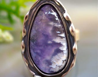 Agate Ring Charoite Stone Sterling Silver Jewelry