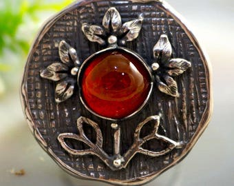 Garnet Ring Hessonite Magic Flower Ring Sterling Silver Jewelry