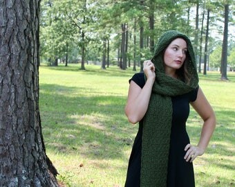 Handmade Hooded Scarf - Crochet Scarf -  Women or Teen - Olive Green - Shell Pattern Hoodie