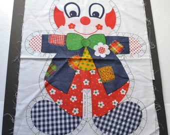 Vintage 1975 RARE Springs Mills clown pattern Vintage Pillow Doll,  Cut & Sew Fabric  doll Fabric making Soft Toy
