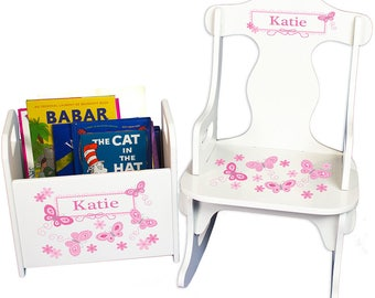 Personalized Puzzle Rocker and Book Caddy set with Pink Butterflies Design-rknrd-300a