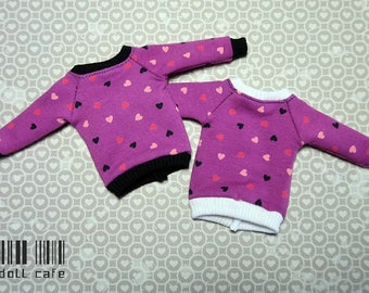 Hearts purple sweatshirt for Blythe doll