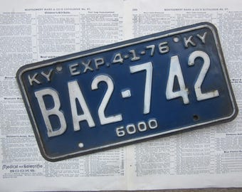 Vintage License Plate Kentucky 1976 KY Blue & White Heavily Distressed Metal Rusted Aged Patina Tag Man Cave Rat Rod Car Truck Antique