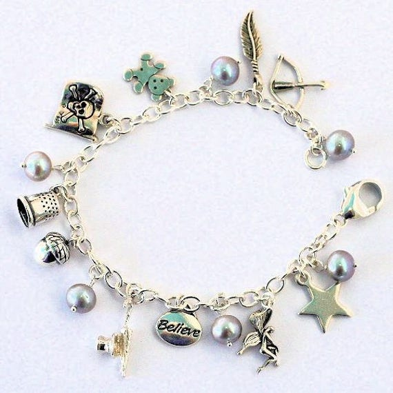 Peter Pan Thimble and Acorn Solid Sterling Silver Peter Pan And Wendy and Lost Boys II Charm Bracelet,  Second Star Right