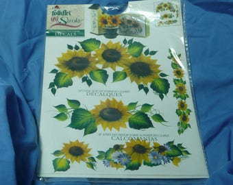 Folk Art One Stroke Decals, Hand Painted Look, Sunflowers 1051