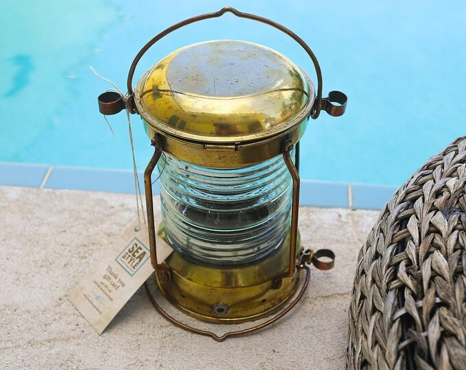 Brass Lantern, Beach Decor, Nautical, Vintage, Restored by SEASTYLE