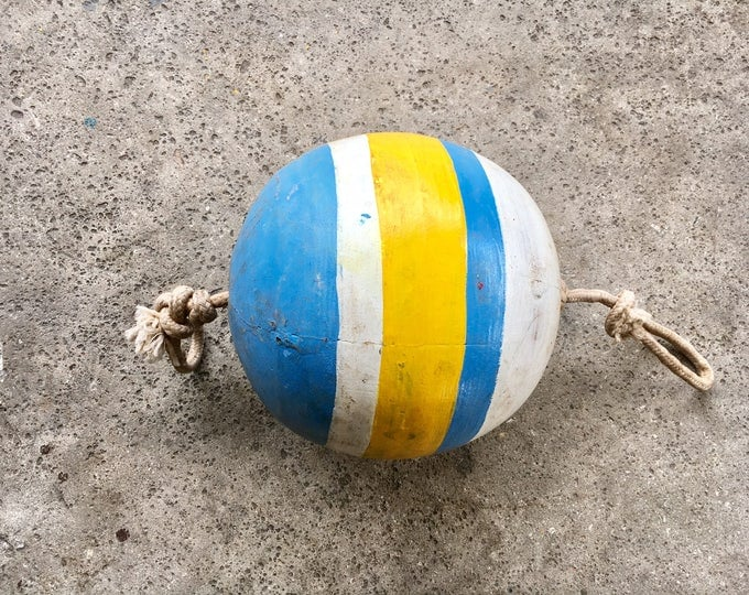 Beach Decor, Old-style lobster float buoy, Round, Blue Yellow White, Nautical by SEASTYLE
