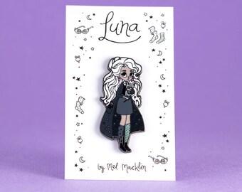 Luna Lovegood Hard Enamel Lapel Pin // Charcoal Navy Colourway // Wearable Art, Jewelery, Harry Potter, Witch, Fairytale, Stars, Girl