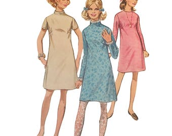 Vintage RETRO Simplicity 7853 A-Line Dress Front Dart Sewing Pattern Women Sz 8 Bust 31 1/2