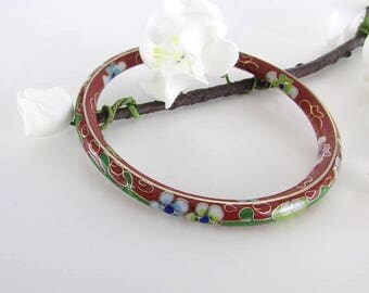 SALE Cloisonne Enamel Bangle Bracelet - Vintage 1970s Enamel Floral Jewelry