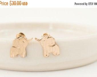 60% OFF Sale 18k Gold elephant studs, Free spirited, Tiny elephant, Elephant jewelry, lucky earrings, Lucky elephant, Baby shower gift, 18k