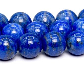 "8MM Rare Aqua Blue Lapis Lazuli Beads Afghanistan AAA Genuine Natural Full Strand Round Loose Beads 16"" BULK LOT 1,3,5,10,50 (101844-420)"