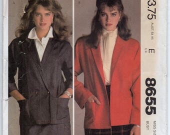Brooke Shields Loose Fitting Unlined Single Or Double Breasted Jacket Size 10 Coat Or Blazer Sewing Pattern 1983 McCall's 8655
