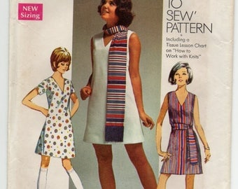Sleeveless Dress With Back Zipper V Shaped Neckline Sash Or Scarf Plus Size 16 Sewing Pattern 1969 Simplicity 8613