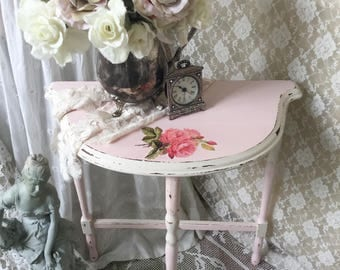 Shabby Pink Table, Demilune Table, Console Table, End stand, Accent Table, Entryway, cottage chic nursery