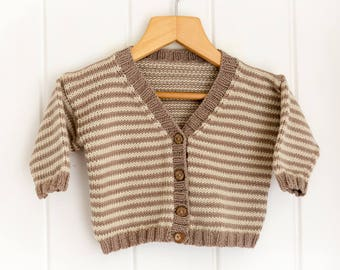 Striped Baby Cardigan - V-Neck  - Mink, Cream 3-6 months - luxury Merino/Cashmere blend yarn, handmade baby clothes