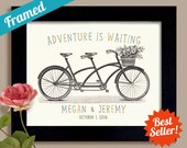 Unique Wedding Gift Idea Personalized Couples Gift Newlywed Couples Name Sign First Anniversary Gift Engagement Gift Tandem Bike