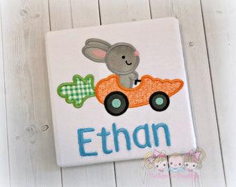 Easter carrot car shirt - boys Easter shirt - bunny in car - Easter carrot with gray bunny - gray bunny shirt - 1st Easter shirt for boys