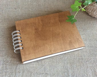 Dark wood cover album, photo album, blank album for prints, memory book, wood cover journal, scrapbook album, gift for her, for crafter