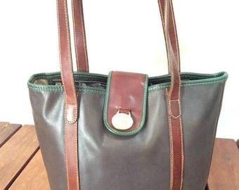 15%OFF VACATION SALE Genuine Vintage Brahmin Grey Leather and Green and Brown Leather trim Satchel Shoulder Bag