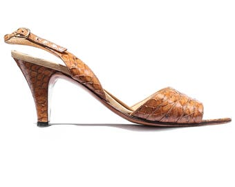 Snakeskin Heeled Sandals 70s Real Reptile Leather Animal Slingback Peep Toe Heel Shoes Beige Leather Made in Italy US 6.5 , UK 4 , Eur 37