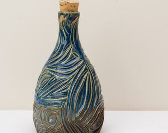 Hand Carved Corked Carafe