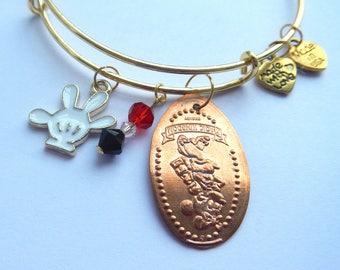 Minnie Mouse Pressed Penny Bracelet / Disney Bangle