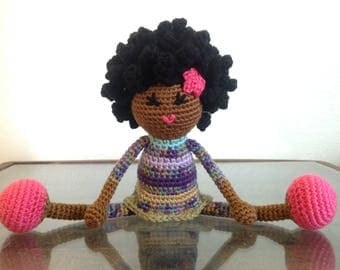 Crochet African American Doll, Purple green pink, multicolored Plush Afro Natural Black Hair Stuffed Toy Baby Girl Gift MADE TO ORDER