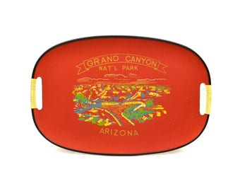 Vintage Grand Canyon National Park Arizona Souvenir Tray // Dark Red Mid-Century Bar-Ware Souvenir Tray // Made in Japan