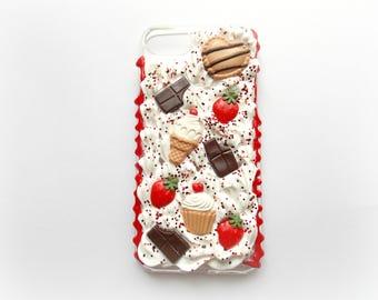 Iphone 7 Decoden Case, Chocolate Decoden Case, Kawaii Decoden Case, Icing Decoden Case, Kawaii Iphone Case, Food Phone Case