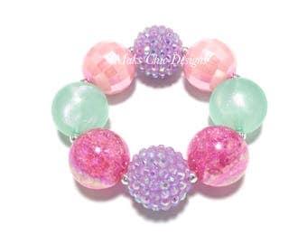Toddler or Girls Valentine's Day Chunky Bracelet - Purple, Pink and Mint chunky bracelet - Hot Pink and Mint Bracelet - Candy Bracelet