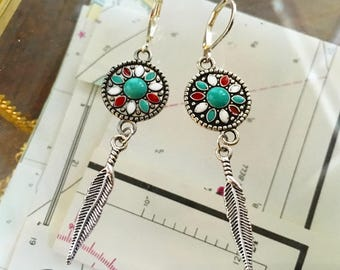 Silver Circle and Feather Earrings