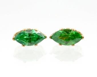 Vintage 1990s green stud earrings, cubic zirconia, 14K GF CZ, gold filled, marquise cut, small pierced post earrings, oval, peridot gemstone
