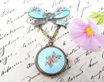 Antique Watch Pendant, Enameled Brooch Pin Back with Hand Painted Roses, Emerson Watch Co, Swiss Movement