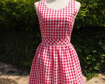 Swing Me Red Gingham Dress The Bow Dress Back Tie Bow Vintage Retro Sundress Summer Dress Red Party Dress