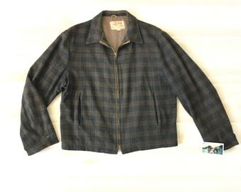 Vintage 50s Wool Plaid Sports Jacket Field and Stream Hunting Size 40