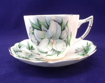 Victoria China Cup and Saucer, White Lily, English Bone China
