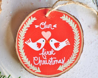 first christmas married ornament. newlywed christmas gift. first christmas together. couple ornament wood. ornament under 30, wedding gift