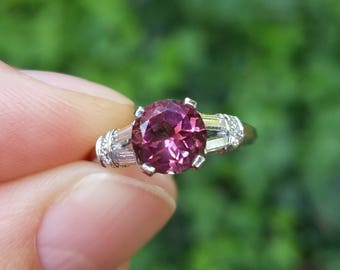 REDUCED!! 1.35ct Pink Tourmaline & Diamond Solitaire Platinum Engagement Ring
