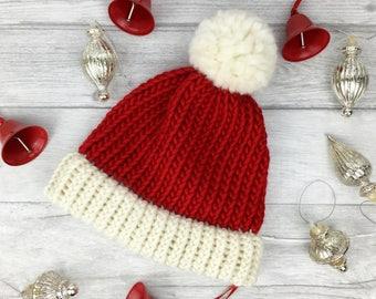 Santa hat, festive hat, christmas hat, baby santa hat, knitted novelty hat, santa hat adult, chunky knit, holiday hat, coworker gift, etsyuk