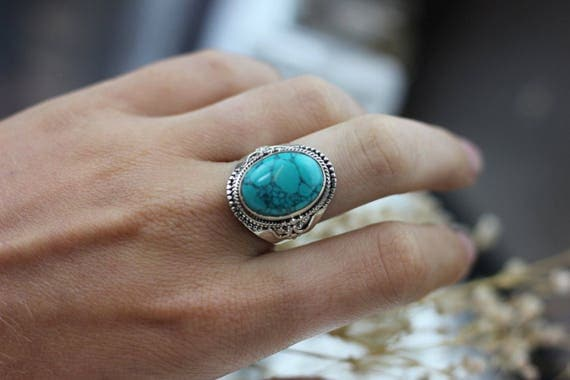 STATEMENT TURQUOISE RING - Sterling Silver Ring- Crystal Ring- Healing Crystal Jewellery- Chakra Ring- Statement Ring- Boho- Vintage