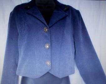 """Retro Cropped Western Riding Jacket Blue with Pewter Accents - Vintage Western Rodeo Wear - W Size Small by """"New Frontier Clothing Company"""""""