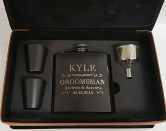 Engraved Leather Flask Set With Black Cups, Groomsmen Gift, Engraved Hip Flask, Personalized Flask, Best Man Gift, Wedding Party Gift