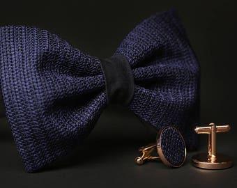 Navy Wedding set, Dark Blue Wedding set, Dark Blue Bow tie, Navy cufflinks