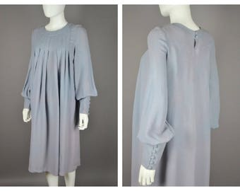 Unusual Vintage 70's Ossie Clark For Radley Cornflower Blue Moss Crepe Day Dress Balloon sleeves Pockets S M L