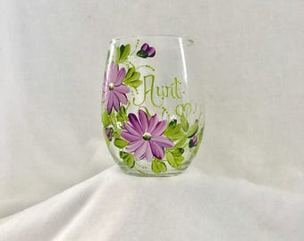 Free shipping Wild flower hand painted personalized stemless wine glass for grammy mom mema sister friend aunt bridemaid etc