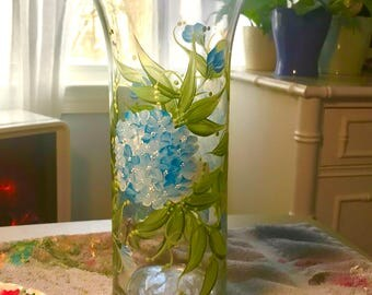 Free shipping blue hydrandea hand painted glass vase