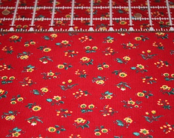Corduroy / Red Corduroy with Flowers / Vintage Corduroy / New on The Bolt